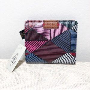 Fossil NWT Emma Mini Bifold Wallet Pink Multi